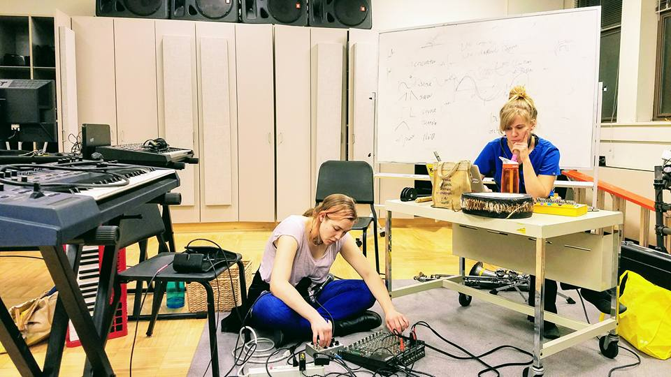 With multi-reedist and computer artist, Molly Jones, in rehearsal.
