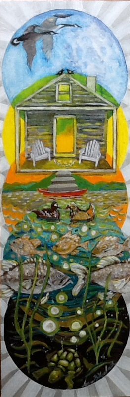Painting for newlyweds, incorporating their love for a special cabin by a pond where they met
