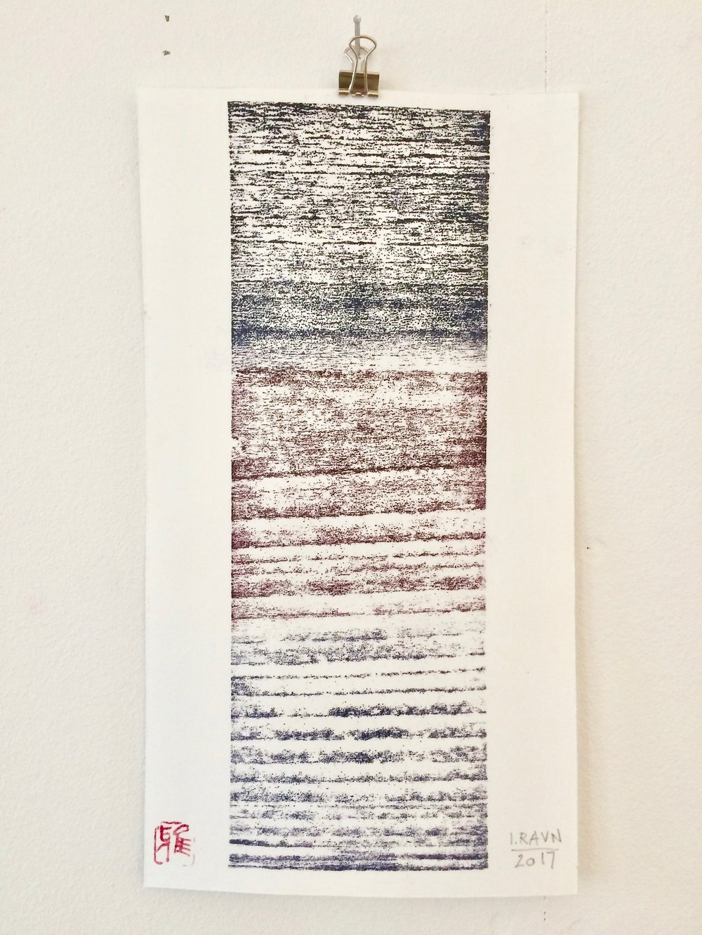 """Memory""   woodcut  27 x 14,6 cm monoprint on Japanese Washi Paper Bamboo Select 170 g"