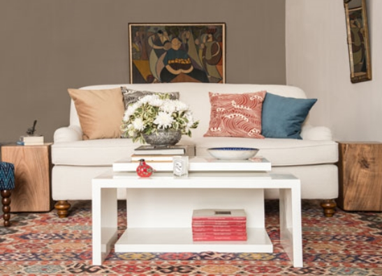 bohemian living room with ionian velvet cushions