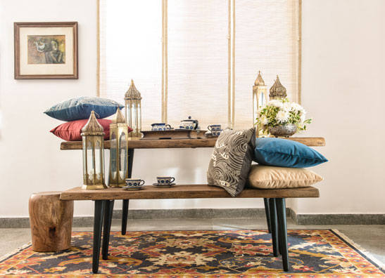 rustic dining with ionian velvet cushions
