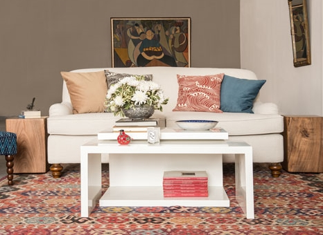 bohemian living with ionian cushions