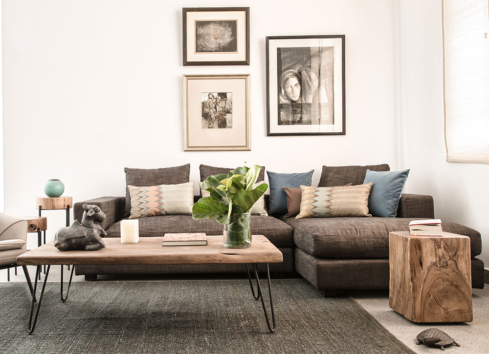 relaxed corner sofa in cotton linen weave with rustic touches like Mimosa solid wooden stool