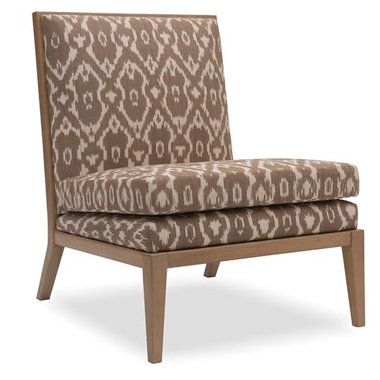 Sandstone White And Brown Ikat Print Parisian Slipper Chair