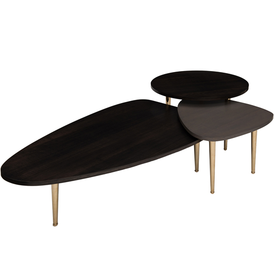 High Quality Pebble Table Collection With Brass Legs