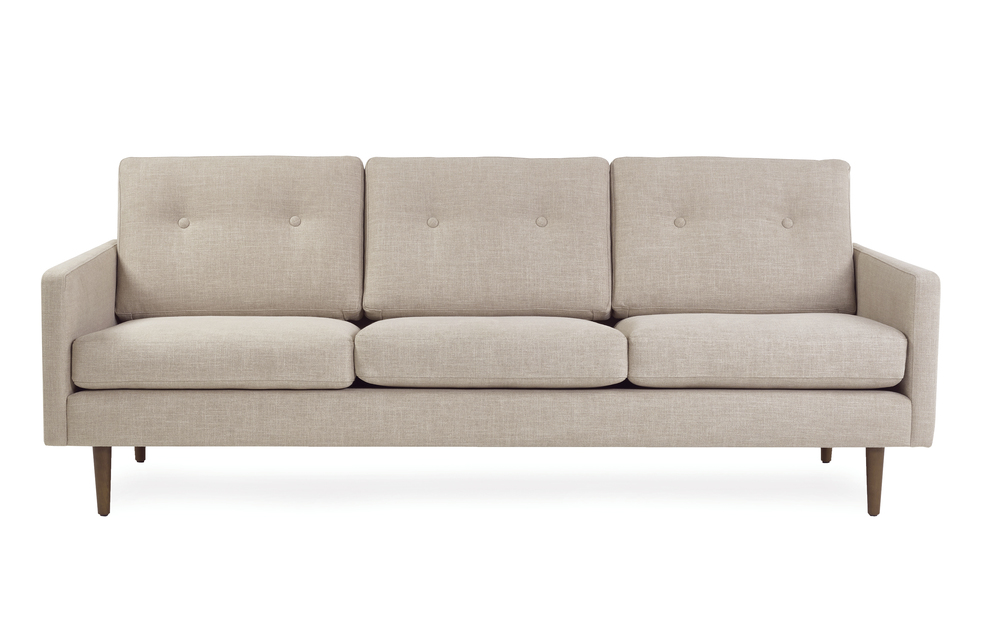 Betty 3 seater midecentury sofa in Skin neutral colour