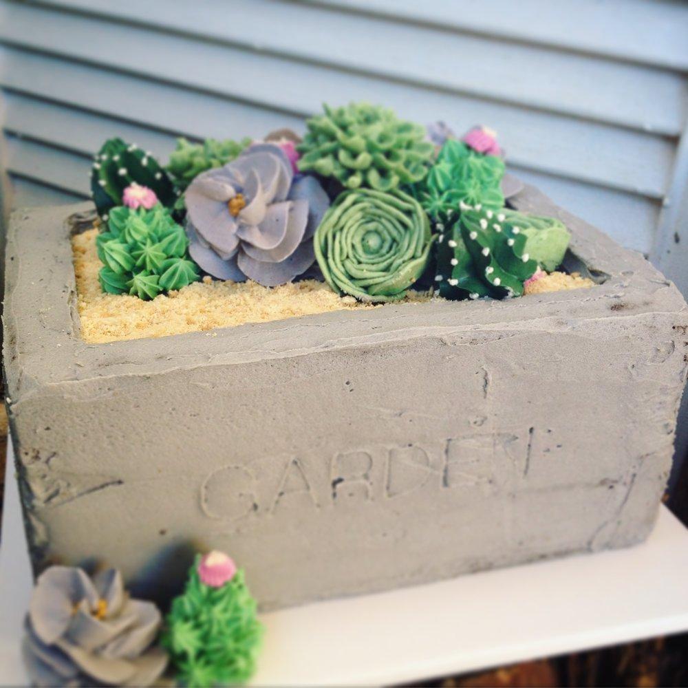 buttercream cactus garden cake