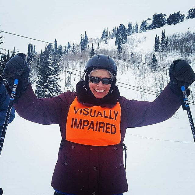 Barbara super excited after a run down White Pine. Miles of Smiles!