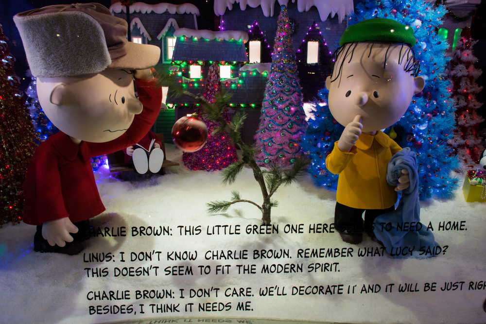 The classic Charlie Brown Christmas Tree in the Macy's Herald Square window display