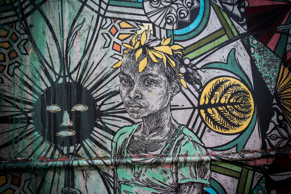 A detail from the massive wall by Swoon from Brooklyn, NY, USA