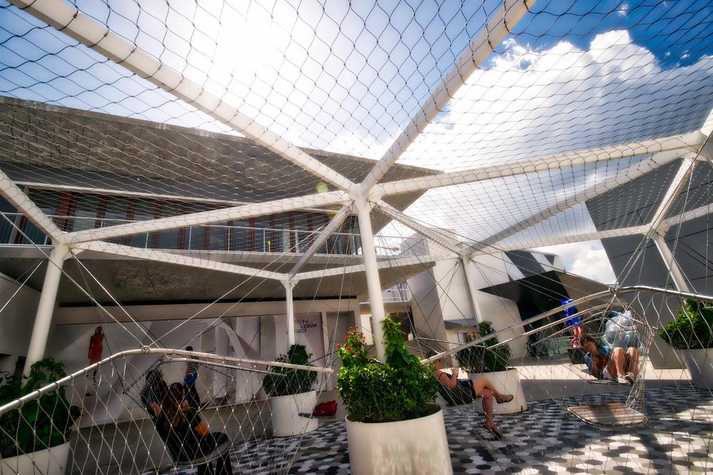 A sea of swings called  Netscape by Konstanin Grcic