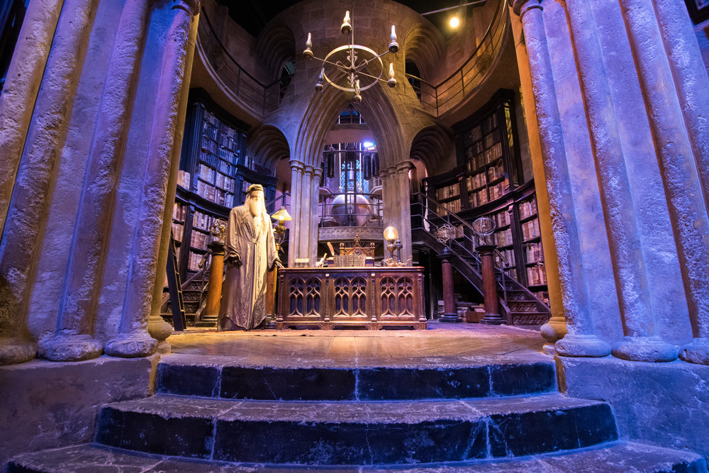 Dumbledore's office, with both actors represented