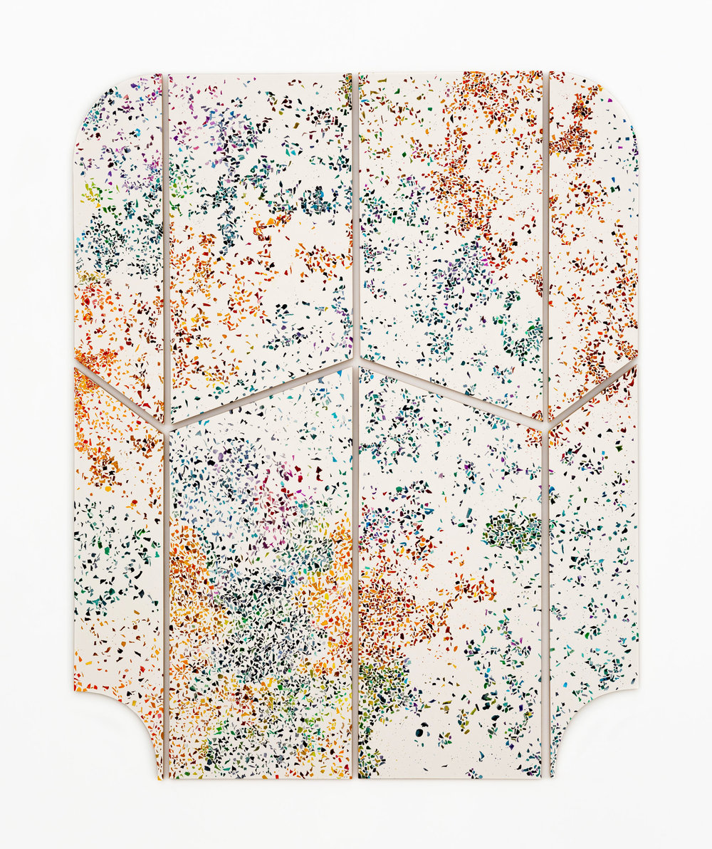 Molding #4 (terrazzo), 2019  ½ inch thick birch plywood, watercolors and pencil on cotton paper, acid-free double-sided tape, 40x33 inch total split to 8 pieces (101.6x83.82 cm)