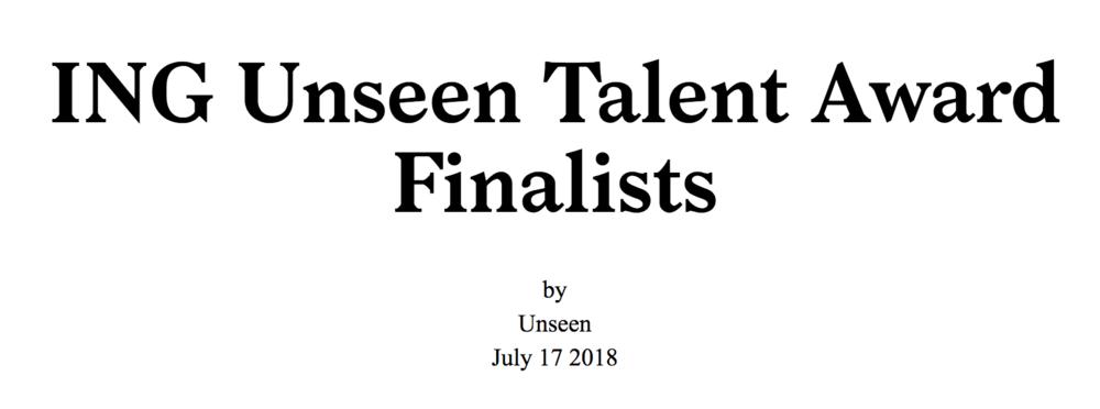 Eva O'Leary:ING Unseen Talent Award Finalist  - July 17, 2018