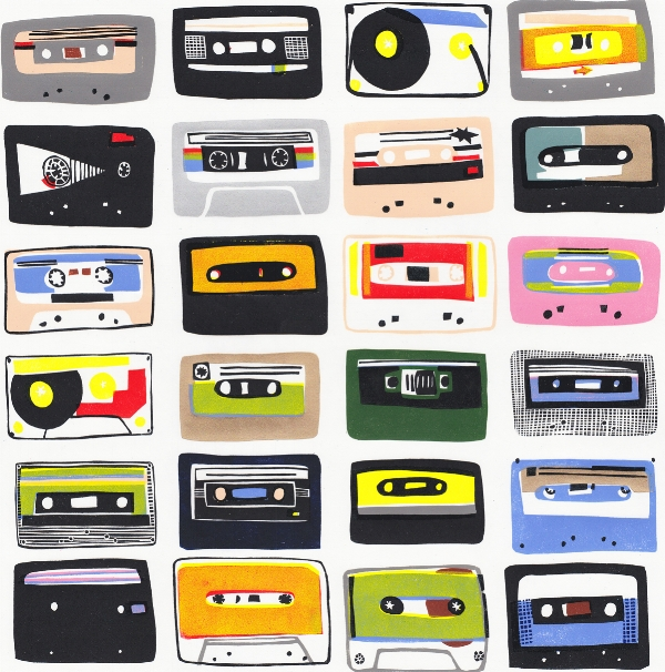 'Cassette Tapes' - linocut 50 x 50cm - edition of 15. Selected for the RA Summer Exhibition 2018 - now sold out.