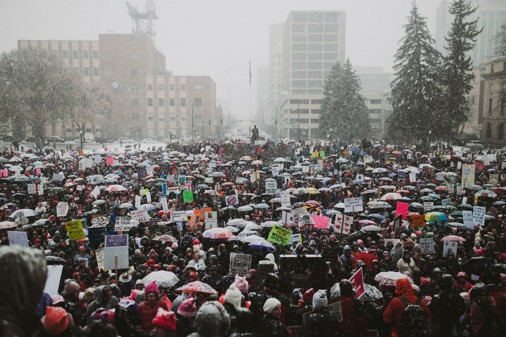 Photo: Ellen Hansen. 7000+ people gathered in Boise, Idaho on Saturday January, 21st 2017
