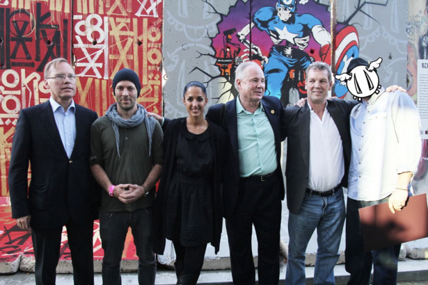 Consul General of Germany,  Wolfgang Drautz, Herakut - Falk Lehmann and Jasmin Siddiqui, Councilmember 4th District Tom LaBonge, Director British Council Los Angeles, Simon Gammel and D'Face