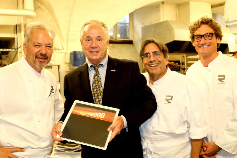 Chef John Sedlar, Councilmember Tom LaBonge, Norman Kolpas and Andrew Douglas, Rivera Restaurant