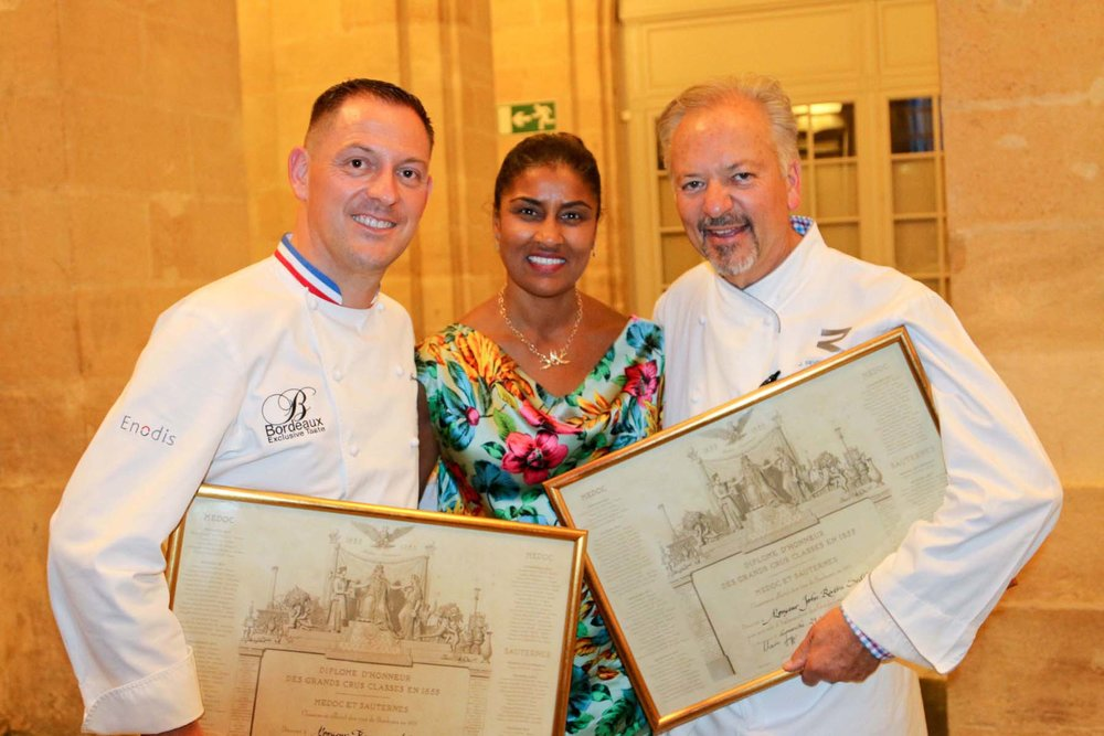 CHEF FRANÇOIS ADAMSKI, KAMILLA BLANCHE AND CHEF JOHN SEDLAR WITH THEIR DIPLOME D'HONNEUR DES GRANDS CRUS.