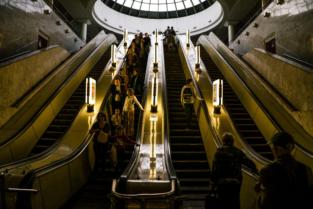 You'll probably be seduced by the style of Kyiv metro station. So take time to explore the underground. One station not to miss: Zoloti Vorota on the green line (not the one on this picture) and its pretty mosaics.