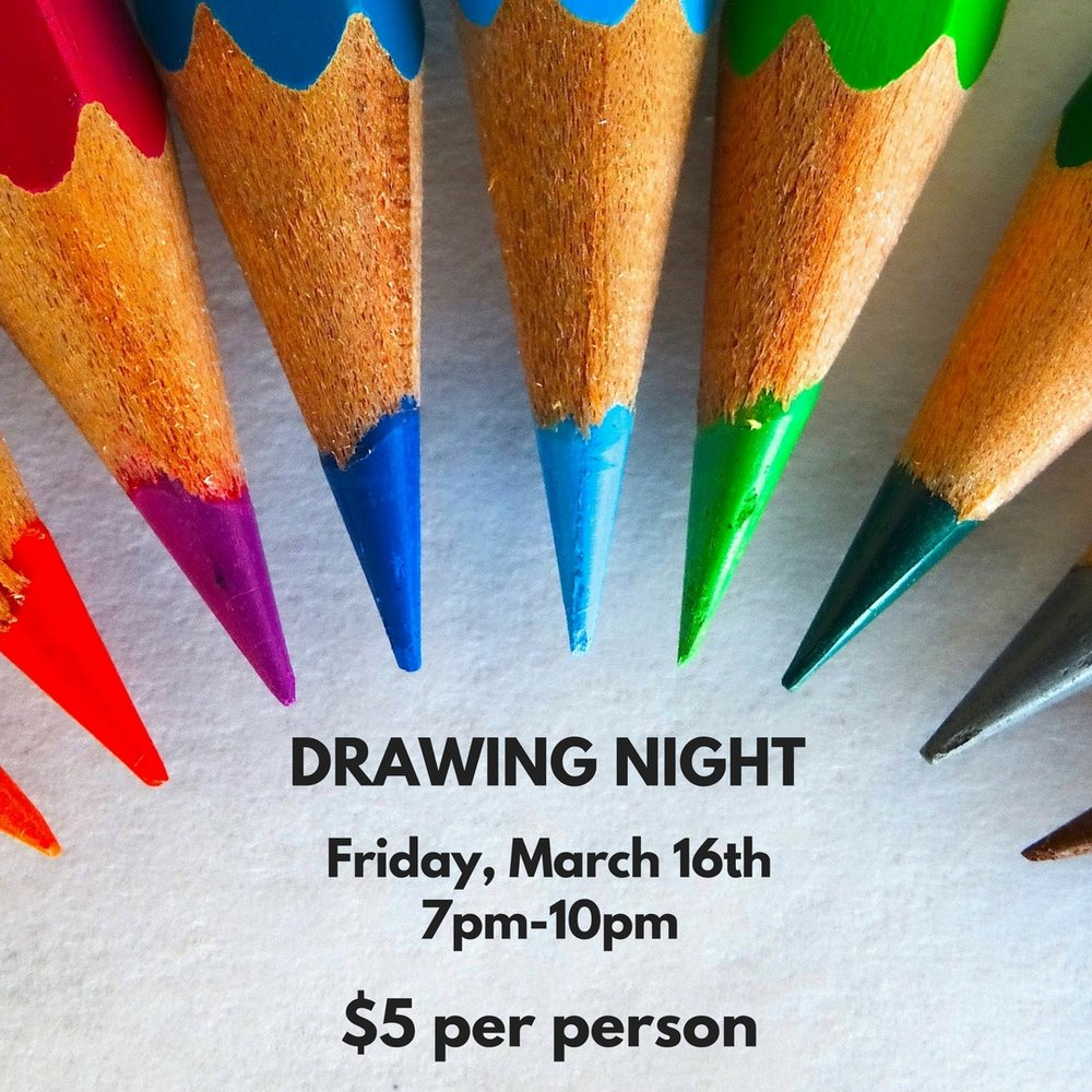 Drawing Night at Hippo  - Friday, March 16th from 7pm-10pmWe're hosting a drawing night at Hippo! Come by the shop to hangout with friends, draw, and listen to music. No experience necessary! Supplies will be provided as will seating, but feel to bring your own materials, as well as cushions, blankets, etc., if you want to get comfy. This is not a class, just an alternative to the Friday night bar scene, so it will be super informal and chill. We'll provide a sweet playlist of tunes to draw to. Bring your friends, or come alone and meet some new peeps!$5 at the door or onlineClick HERE for TICKETSRSVP on Facebook