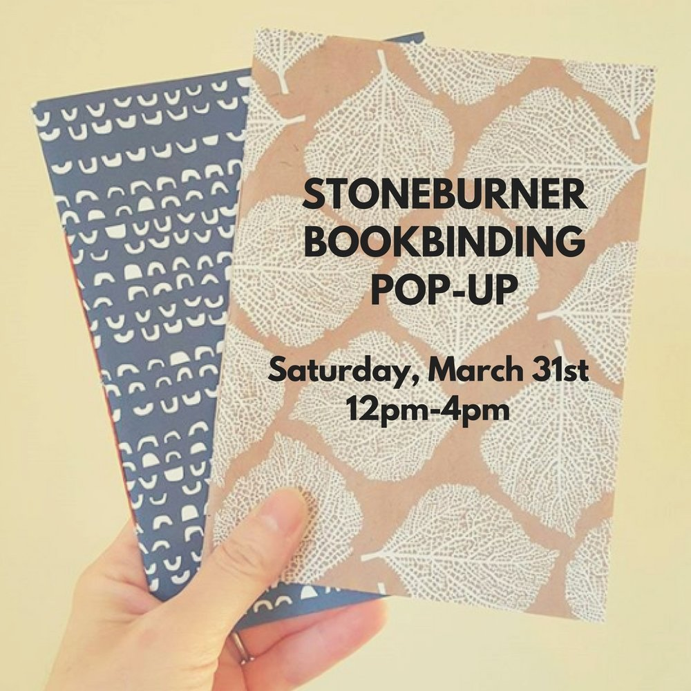 Stoneburner Bookbinding Pop-Up - Saturday, March 31st from 12pm-4pmJoin us on Saturday, March 31st from 12-4, for a pre-Easter pop-up with Lacy Stoneburner of Stoneburner Bookbinding!Stoneburner Bookbinding, based in Milton, Massachusetts, offers handmade journals, photograph albums, custom books and book-inspired jewelry. Owner Lacy Stoneburner will have brand new Spring designs perfect for Easter, Mother's Day, graduation or wedding season gift giving!Check out Lacy's work HERERSVP on Facebook