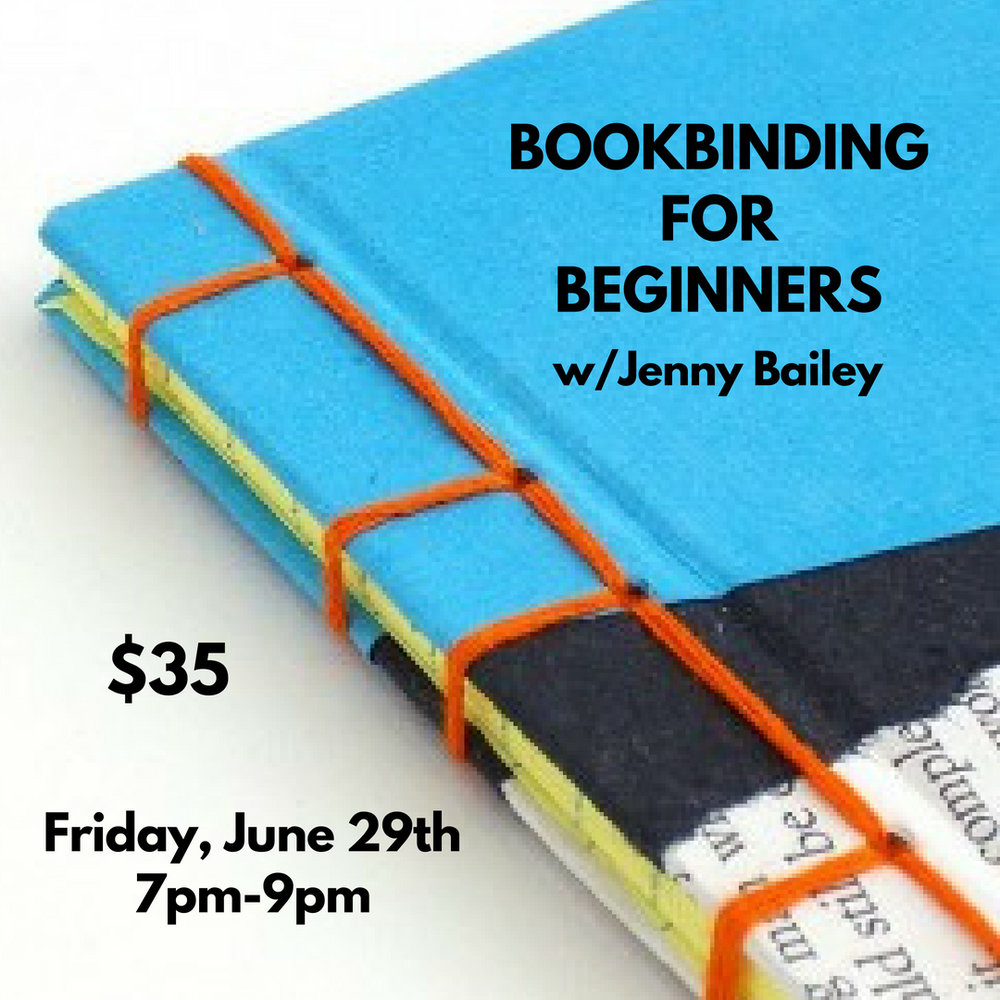 Bookbinding for Beginners w/Jenny Bailey - Friday, June 29th from 7pm-9pmEver want to learn how to bind your own books? Now's your chance. Join one of our Hippo gals, Jenny Bailey, for her Bookbinding for Beginners workshop and she'll show you how to get it done! Students will learn how to make a mini book with a basic binding stitch using recycled paper materials and thread. Each student will take home two handbound mini books of their own creation.Jenny works part time with us here at Hippo, and creates those lovely origami garlands and handmade journals we have at the shop!Tickets are $35 eachLight refreshments and good vibes are always provided!Check out Jenny's work HEREClick HERE for TICKETSRSVP on Facebook