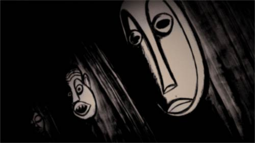 African masks from The Congo brought to England by Sir Wade Jermyn.   From my upcoming animated film 'Facts Concerning the Late Arthur Jermyn and His Family' based on H.P Lovecraft's story of the same name.