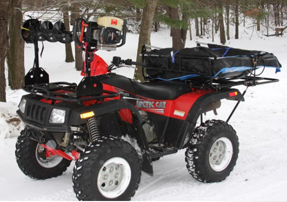 Johnson 39 s cargo systems ice auger carrier ice auger rack for Atv ice fishing accessories
