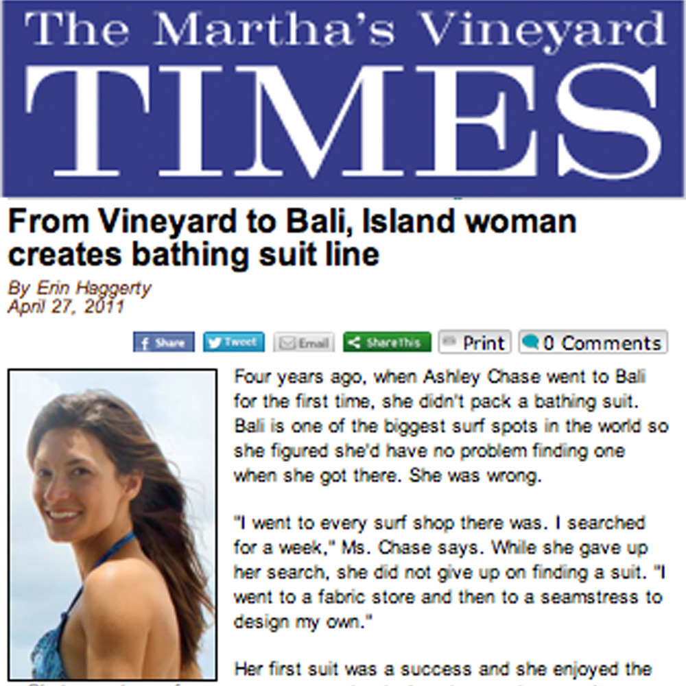 The Marthas Vineyard Times, Bali based swimwear line
