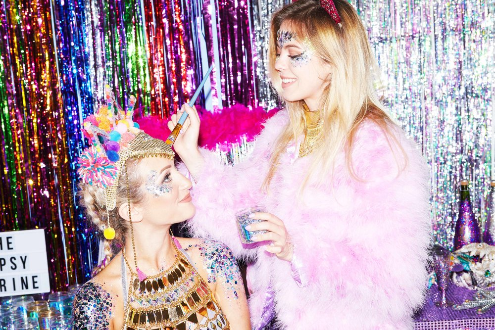 GET GLITTERED UP - Our team of professionals will glitter you up from head to toe by using our signature glitter, face jewels, boob jewels and glitter bootays!