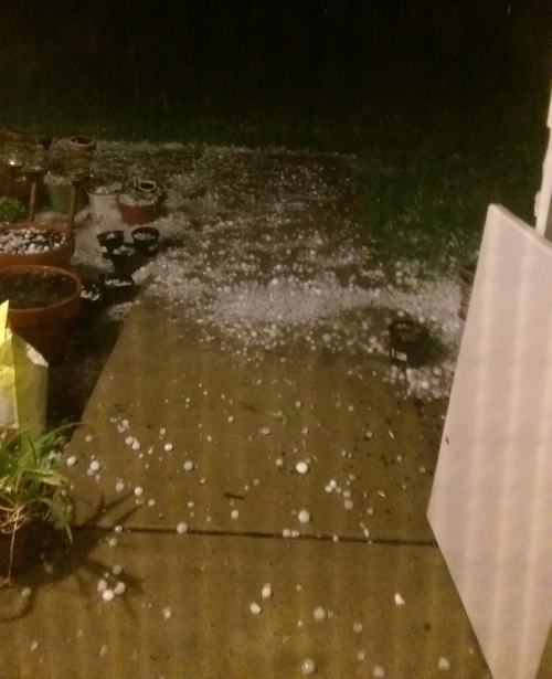 The hailstones, as viewed from our front door.