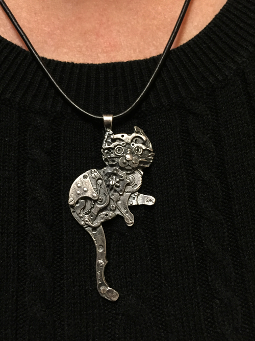 Silver watch parts kitty pendant all natural arts silver watch parts kitty pendant aloadofball Choice Image