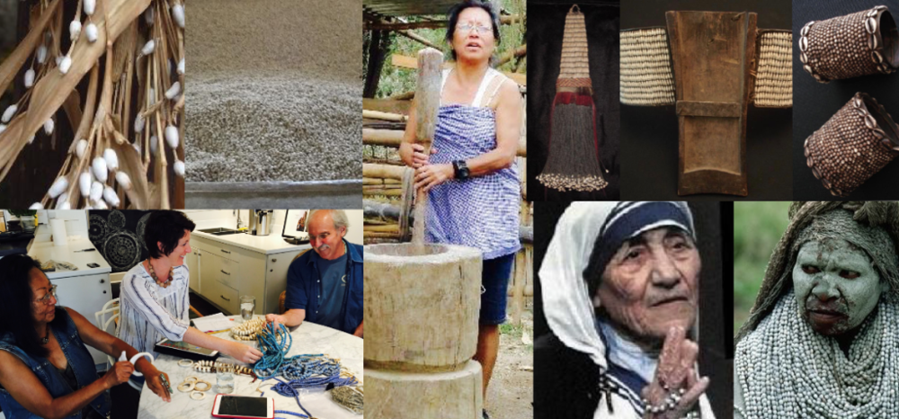 left to right, top row:  Job's tears on plant, drying in bin,, Tiala grinding them, ceremonial pieces with flattened Job's Tears.   bottom row:  Tiala and Harry consult with Ibu designer, Jamie Buskey, last September; Mother Teresa's favorite rosary was made of Job's Tears, a Sadhu in India wraps in neck in the seed bead.