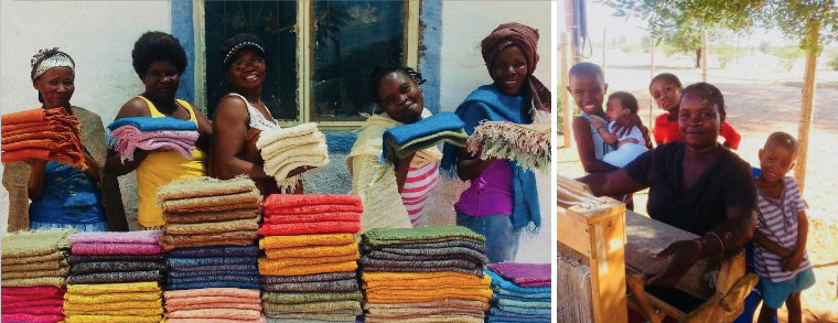 From a group of 10 weavers in southeast Namibia, wild silk shawls in spring hues for Mother's day.