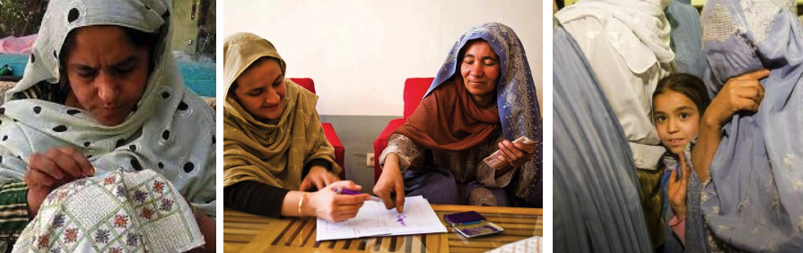 A member of Kandahar Treasures embroiders her own design; Rangina takes a woman's thumbprint as signature as the literacy ratefor women is only 13%; a hopeful daughter among women in burqas.