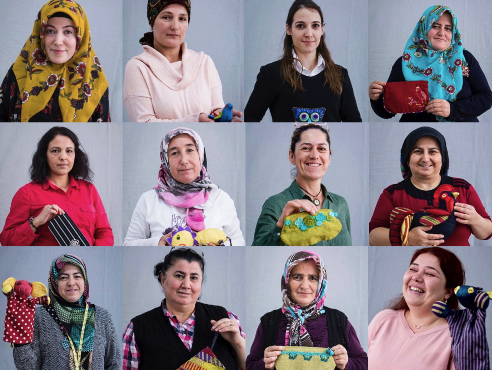 Some of the women from the Anatolian Artisans Soma Group who made our Chili Pepper bags and Kiss Me Kismet napkins.