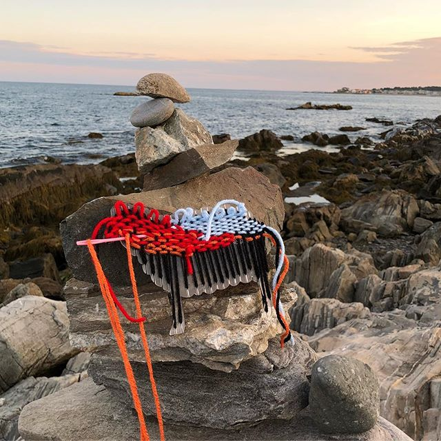 Road trip! Happy labor day weekend everyone. I will be here hanging by these gorgeous views weaving 😍. . . . #beach #views #animaloom #weaving #loom #labordayweekend #newengland #relax #craft