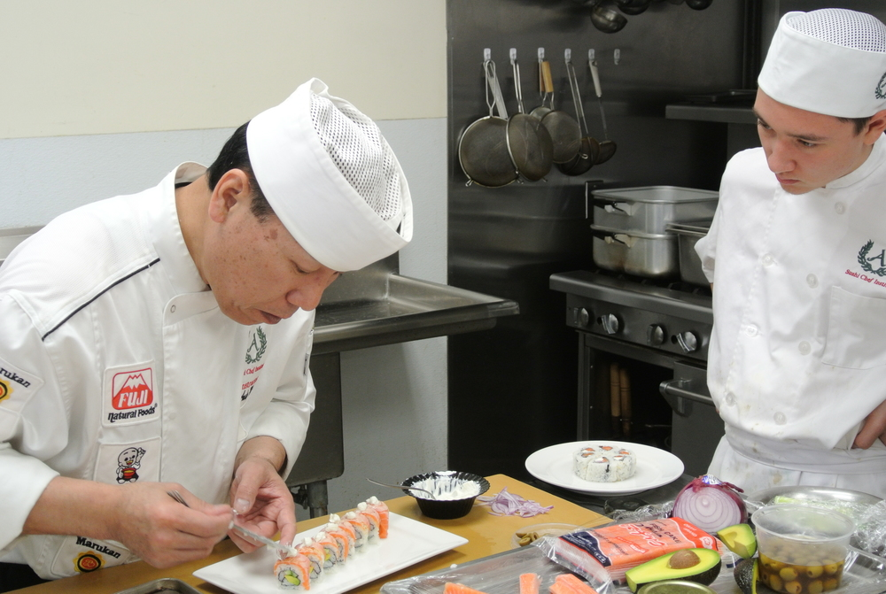 chef andy matsud with his student