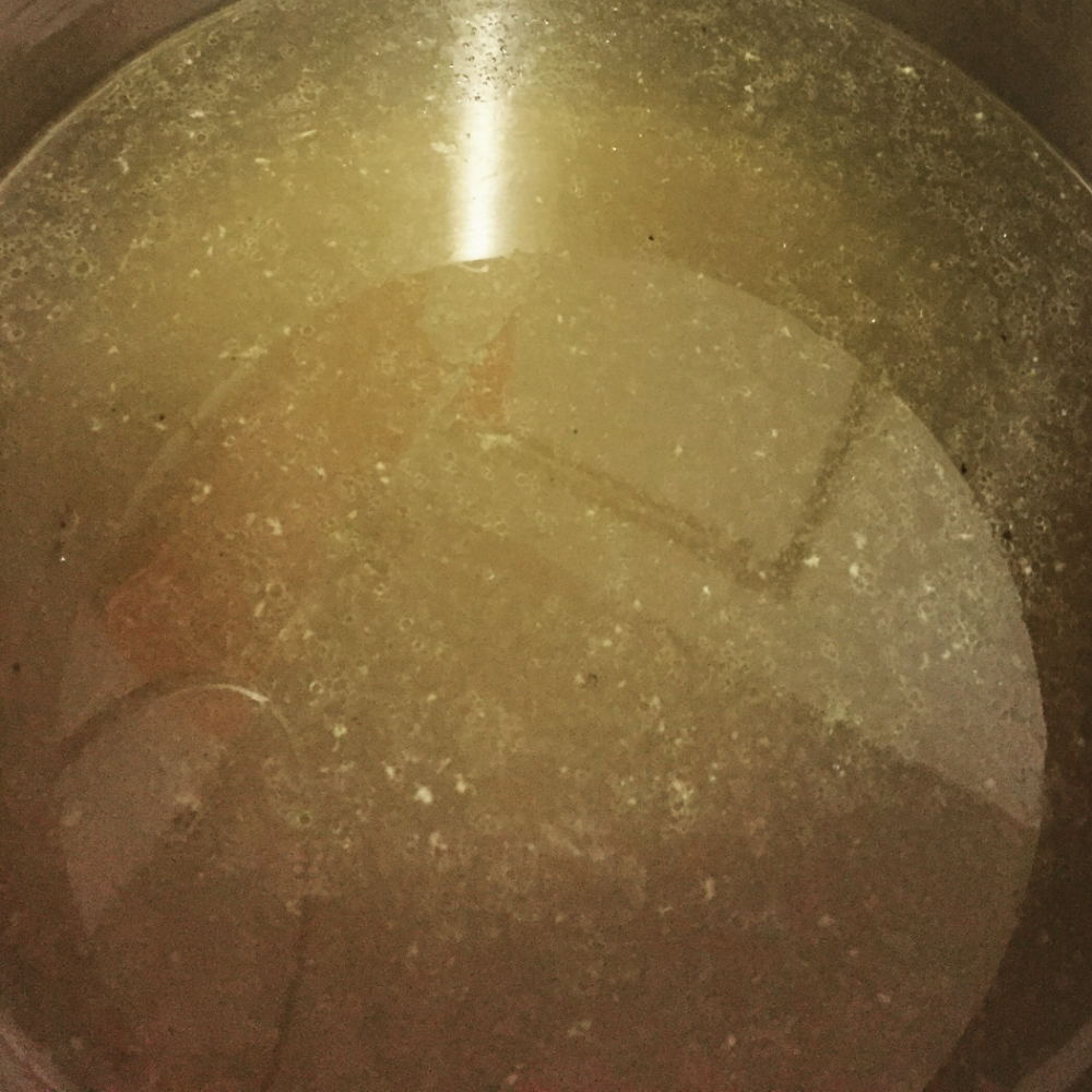 Freshly made chicken broth