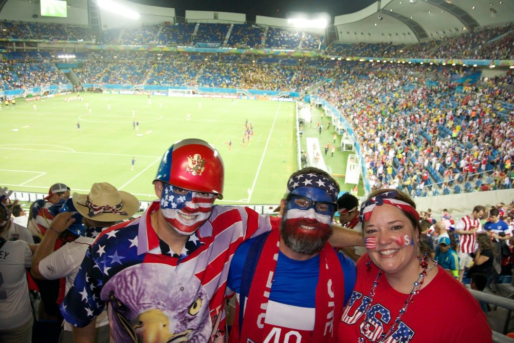 If you're feeling blue about not getting to cheer on our USA national team in the World Cup, enjoy this Brazil World Cup throw back, where Geoff was proudly sporting his red, white and blue.