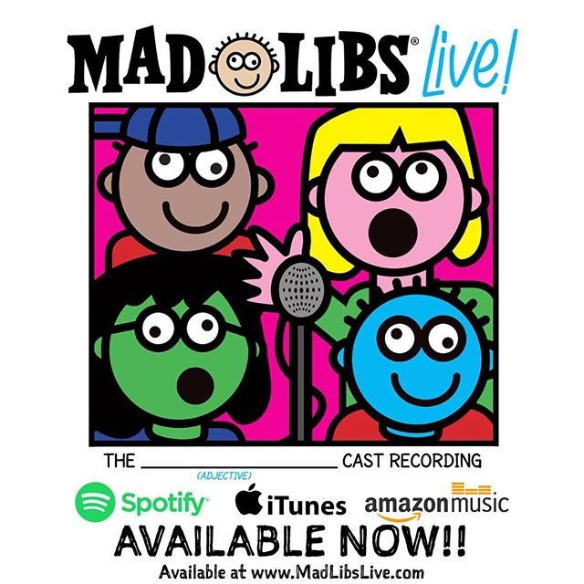 AVAILABLE NOW!!!! Today is the (NOUN)!! Buy a physical copy of our Original Cast Recording on @BwayRecords website, or listen on @iTunes, @Spotify, or @amazonmusic • #MadLibsLive #MadLibs #OriginalCastRecording #OffBroadway #AvailableNow #iTunes #Spotify #Amazon