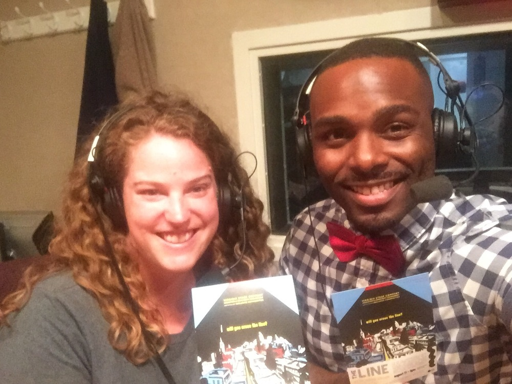 VSC Resident Theatre Artists, Kat Martin (left) and Tommy Coleman (right), at an interview with WHRO