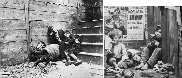 "Children from the Victorian period often lived on the streets or as Nancy tells Fagin in Oliver Twist, ""I theived for you when I was a child not half as old as [Oliver]! I have been in the same trade for twelve years since...It is my living and the cold, wet dirty streets are my home."""