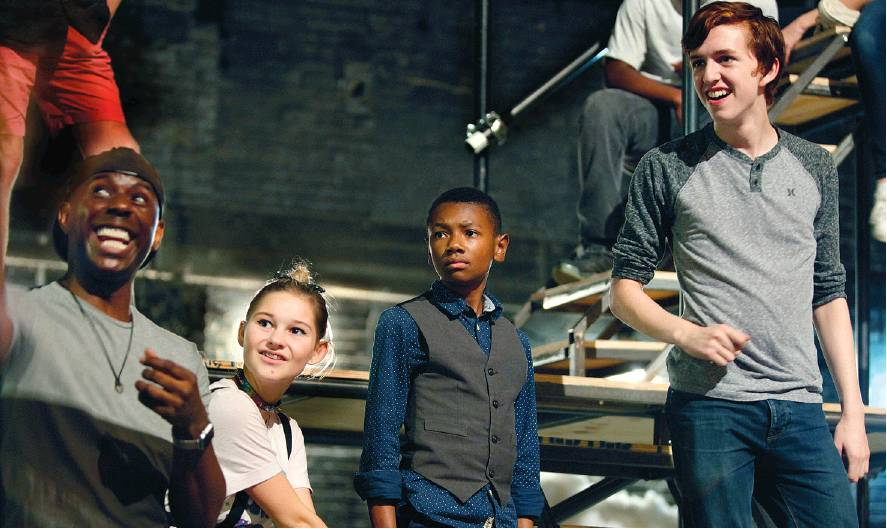 "DAVID B. HOLLINGSWORTH | FOR THE VIRGINIAN-PILOT  From left, Corey West, Kylee Darling, David Hopkins and Sean Hynes rehearse for the Virginia Stage Company production of ""Oliver Twist."" Hopkins stars as the orphan Oliver in an adaptation by Patrick Mullins with music by Jake Hull."