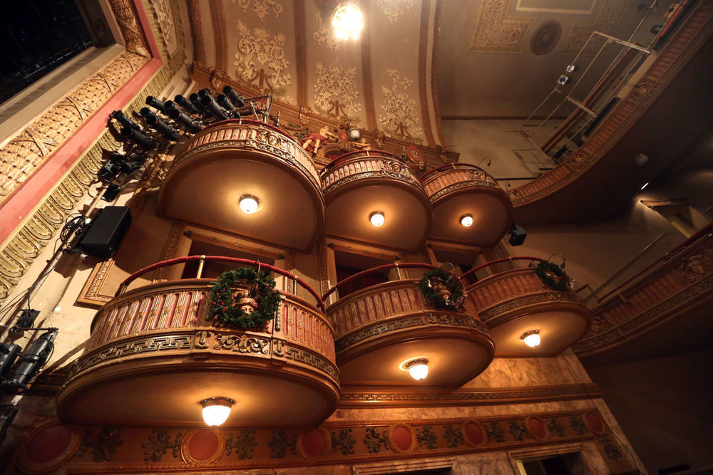 The balconies of the Wells Theatre in Norfolk, photographed Thursday, January 6, 2017, by Steve Earley. Improvements are scheduled for a later phase of remodeling.