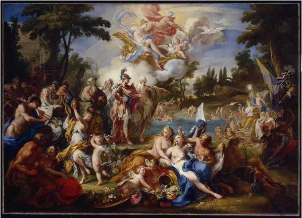 Sebastiano Conca's painting,  The Vision of Aeneas in the Elysian Fields