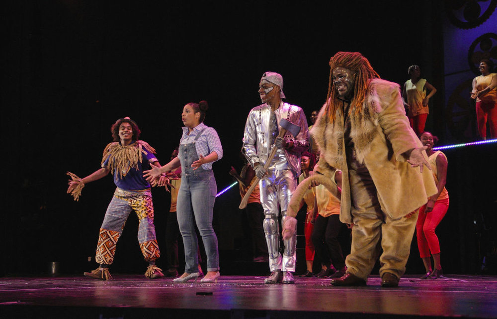 "Starring in ""The Wiz"" are: from left, Matthew Jackson as Scarecrow, Alana Houston as Dorothy, Jonathan Cooper as Tin Man and Darius Nelson as Lion. (photo by Samuel W. Flint)"