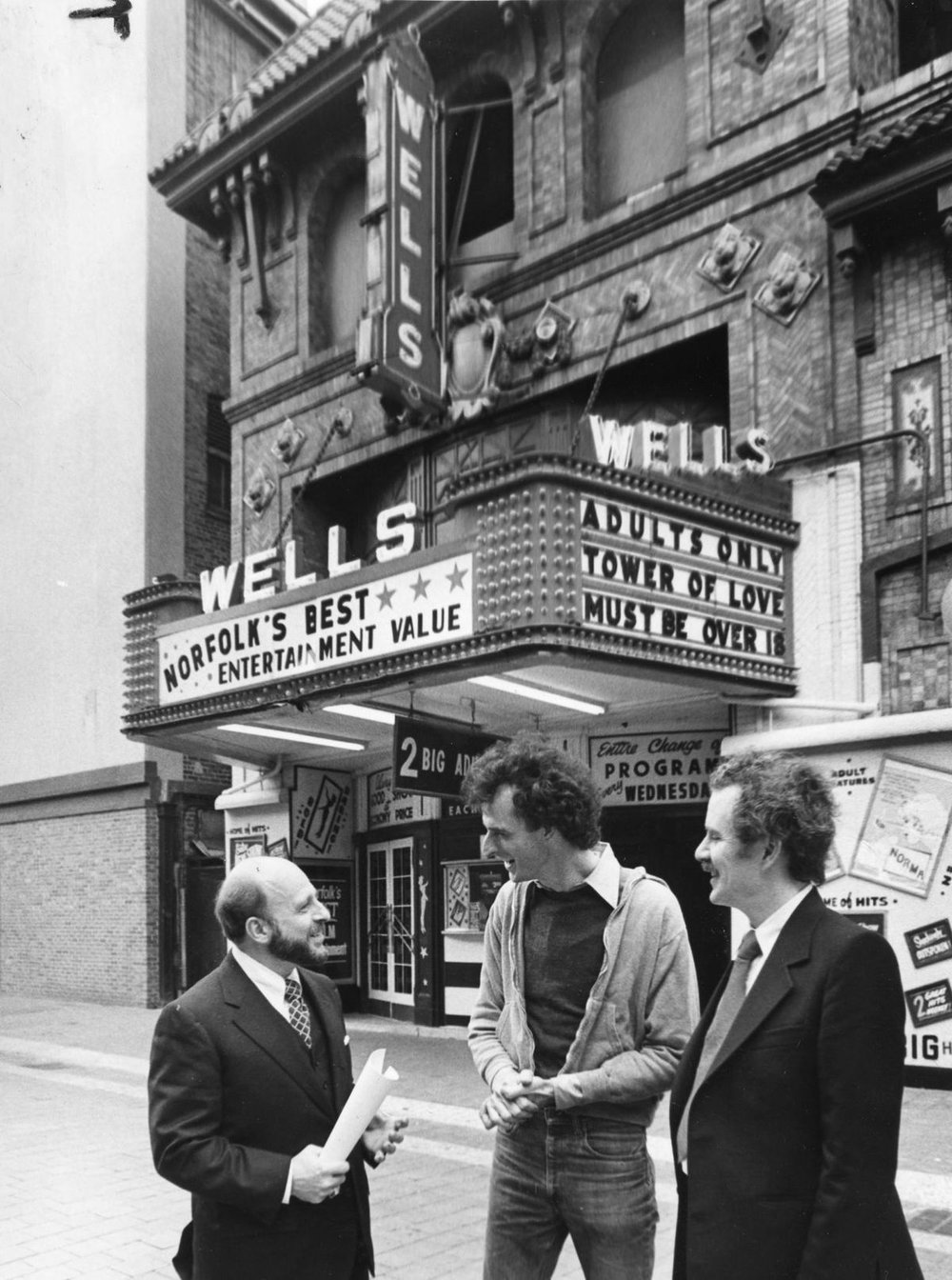 Robert Brown at the Wells Theatre in Norfolk, pictured with Chuck Kerr and Roger Morgan in 1978.