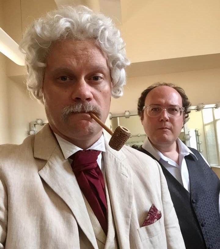 Ryan Clemens as Mark Twain and Samuel W. Flint